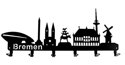 steelprint.de Wandgarderobe - Skyline Bremen - Flurgarderobe - HB - Kleiderhaken, Hakenleiste, Garderobeneiste, Garderobenhalter, Garderobe - Metall, schwarz