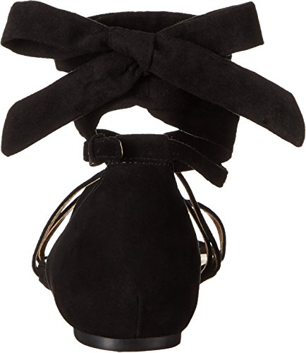 Nine West Womens October Suede Flat Sandal Black/black