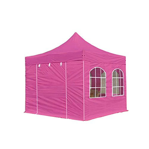 TOOLPORT Faltpavillon Pavillon 3x3 m mit Fenstern edles Polyester Wasserdicht PROFIZELT24 Partyzelt pink