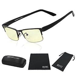 DUCO Optik Blaufilterbrille Blaues Licht und UV Schutzbrille Bildschirmbrille fortgeschrittene Gamer Gamingbrille Computerbrille mit Bernsteinglas GX090