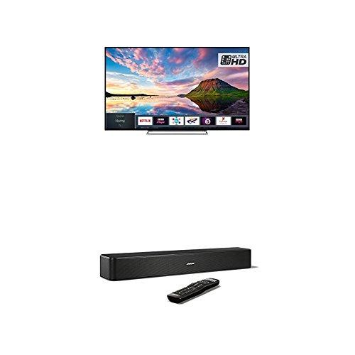 Toshiba 65U5863DB 65-Inch Smart 4K Ultra-HD HDR LED TV with Freeview Play, Black/Silver and Bose Solo 5 TV Soundbar System, Black Bundle