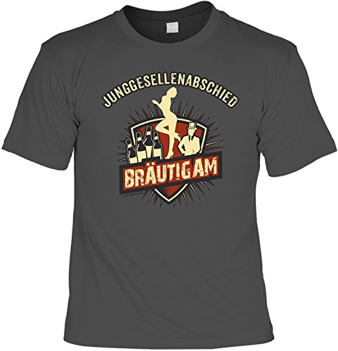 Junggesellenabschied Gruppenshirt mit Wunschnamen : Junggesellenabschied - Bräutigam -- T-Shirt persönlichen Namen Aufdruck Anthrazit