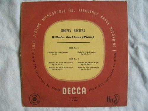"LX 3044 WILHELM BACKHAUS Chopin Recital 10"" LP"