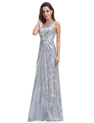 Ever Pretty Lang Pailletten Elegant Partykleid Cocktailkleid Abendkleid 36 Silber - 6