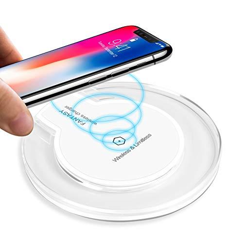 ULTRICS Cargador Inalámbrico Rápido, Ultra Slim Qi Wireless Carga Rápida Súper Delgado para iPhone X, iPhone 8, iPhone 8 Plus, Samsung Galaxy S8, Note 8 y Teléfonos Qi-Enabled - Blanco