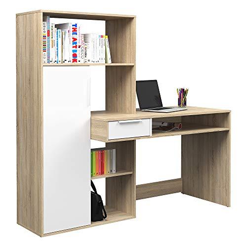 Tvilum Scrivania con Libreria Function Plus, Truciolato, Quercia/Bianco, Large
