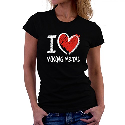 Maglietta da donna I love Viking Metal chalk style
