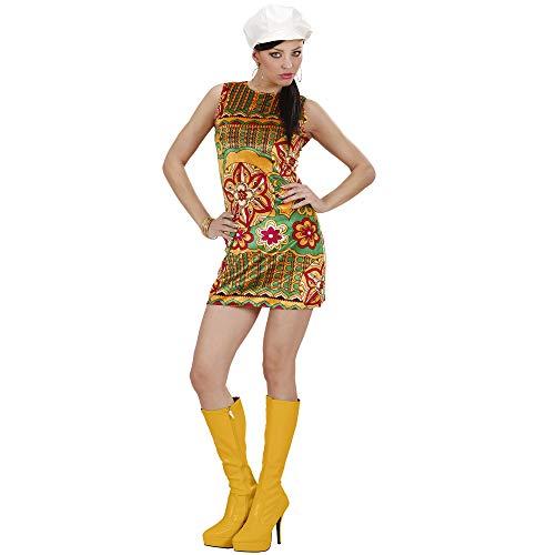 Hippie Kleid Kostüm Chick - WIDMANN 73322 Erwachsenenkostüm 60er Jahre Kleid, Damen, Mehrfarbig, M