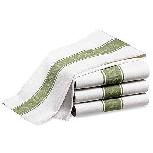 William Sonoma rovere Sonoma confezione da 3classico 100% cotone turco Stripe vetro mano essiccazione strofinacci Moss Green