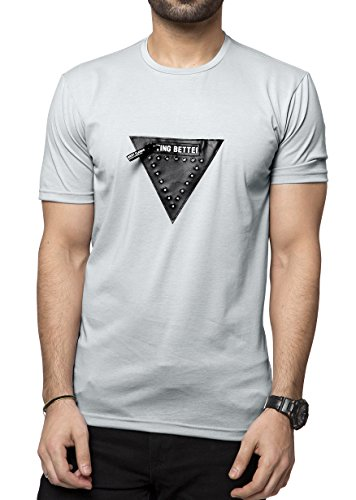 Zeyo Soft-Touch Cotton Mens Round Neck Half Sleeve Tshirt Stylish Grey Regular Fit Patch T-Shirt