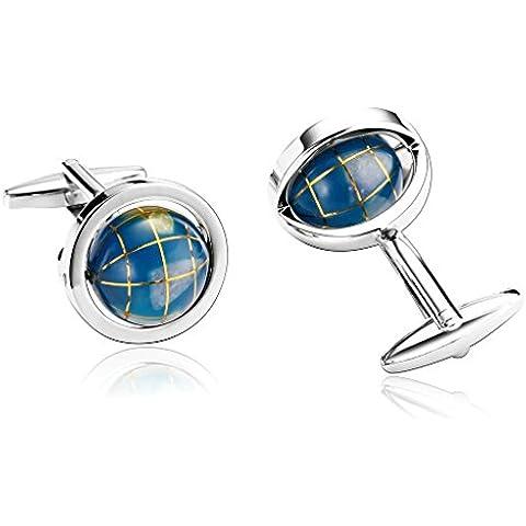 Alimab Joyería Gemelos Para Hombres Mini Globo Azul - Acero Inoxidable Hombre Mancuerna