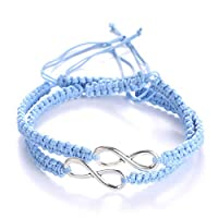 AidShunn Bracelets infinity Braided Handcrafted Adjustable Braided for Men Women Friendship Family Couple 2Pcs