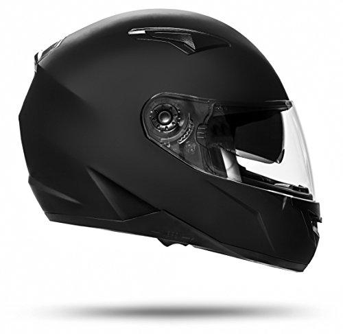 ATO Helme 700 Toronto Schwarz matt L 59cm bis 60cm Integralhelm mit Doppelvisier System und der neusten Sicherheitsnorm ECE 2205 -