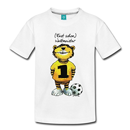 Spreadshirt Janosch Tiger Fast Schon Weltmeister Teenager Premium T-Shirt, 158/164 (12 Jahre), Weiß (Dribbeln, Fußball-t-shirt Mädchen)