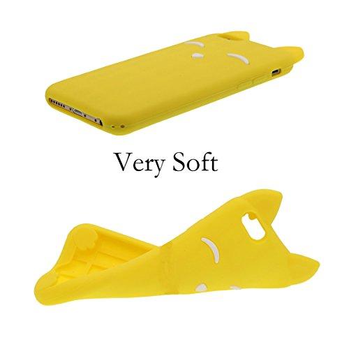 Silicone Coque pour iPhone 6 / iPhone 6S (4.7 Pulgada), Dessin animé Style 3D Renard Modélisation Apparence, Coloré Soft & élastique Prime Silicone Étui de protection Cover Bumper + 1 Stylet Jaune vif