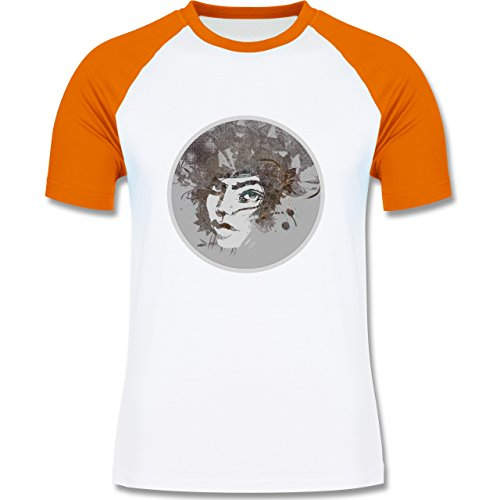 Sonstige Berufe - Circle mind - creative brainstorming - zweifarbiges Baseballshirt für Männer Weiß/Orange