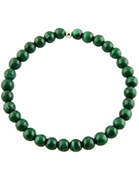 Sunsara Traumsteinshop Malachit Armband Edelstein Kugeln (Perlen) 6 mm und 925er Silberkugel Heilsteinarmband,...