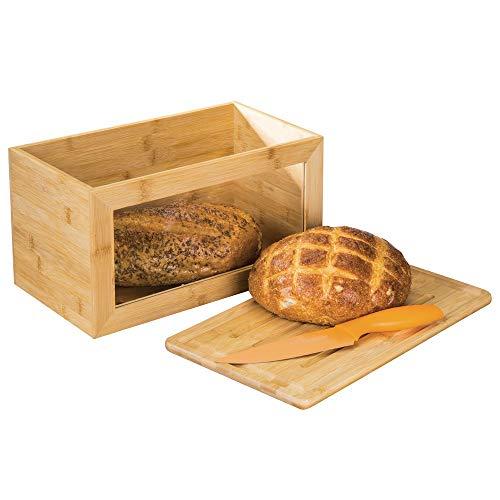 mDesign boîte à Pain en Bois - boîte à Pain avec Planche à découper intégrée comme Couvercle - huche à Pain avec fenêtre de visualisation pour Une Conservation écologique - Couleur Nature