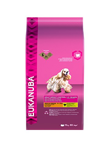 fettarmes hundefutter Eukanuba fettarmes Hundefutter für mittelgroße Hunde, Trockenfutter mit Huhn (1 x 15 kg)