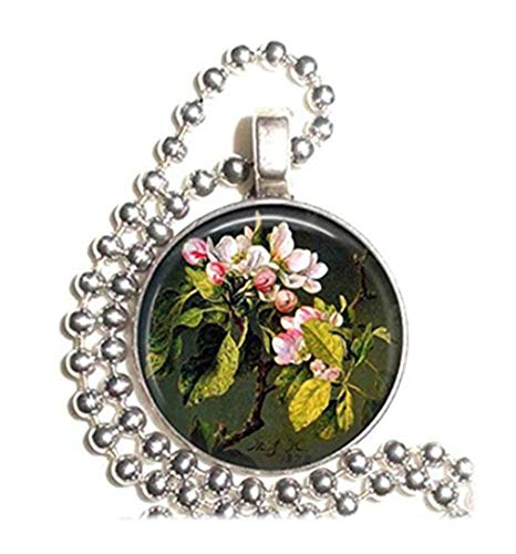 Leonid Meteor Shower A Branch of Apple Blossoms and Buds Pattern Pendant Necklace Pure Handmade Glass Ornaments Apple Blossom Pattern