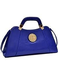 Dasein Flat Bottom Emblem A-Symmetrical Handbag Designer Shoulder Bag w Removable  Shoulder Strap f73def1cbdec4