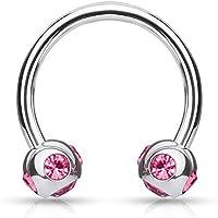 PiercedOff, in acciaio chirurgico, motivo: cavallo e scarpa, colore: rosa con 5 sfere con gemme: 4 mm - 4 C Gemme Gioielli