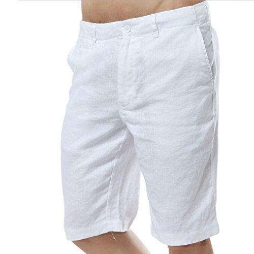 Najia Symbol Herren Beiläufig 100% Leinen Kurze Hose Men's Shorts (W34