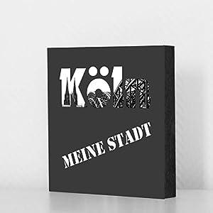 Köln Bild - Köln meine Stadt grau 10x10cm, MDF, Geschenk, Deko, Dom, Kölngeschenk, Cologne, Holz, Kunst