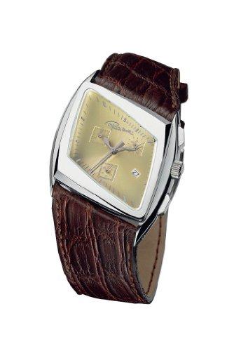 Roberto Cavalli - 7251975045 - Kite - Montre Homme - Quartz Analogique - Chronographe - Fond Ivoire - Bracelet Cuir Marron