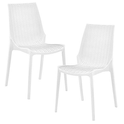 [casa.pro] 2 x Stuhl in Rattan-Optik (Kunststoff) Gartenstuhl wetterfest (weiß)