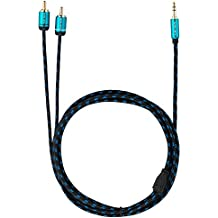 Cable Jack 3.5mm Macho a 2 RCA Macho de Ultra HDTV   Jack a 2 Cinch/ Phono   Nylon Trenzado   Adaptador Metálico y Conectores Dorados   Para Smartphone, Altavoces, PC, Receptores de Audio   15 m