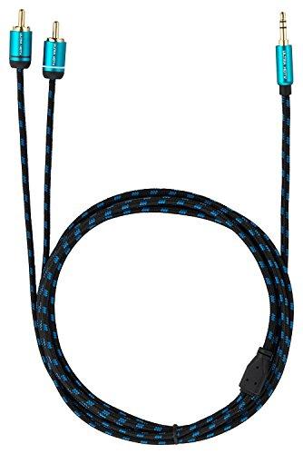 Cavo Audio Jack Stereo 3,5 mm a 2x RCA Maschio 5m di Ultra HDTV I Connettori Cinch/RCA con Contatti Placcati Oro I Guaina Robusta Intrecciata Nylon I Collegamento per Smartphone, PC - Altoparlanti