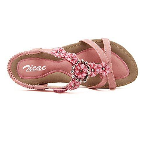 Pour Femme New Bohême Style romain style folk perle ronde Peep Toe Summer Beach Dunlop orteil Post Sandales Tongs Plat Antidérapant Chaussons String Rose - rose