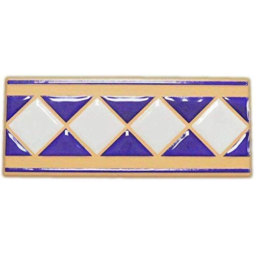 The Art Gallery Shop NYC Villeroy & Boch Terrakotta Blau Weiß Diamant Keramik Fliesenbordüre Set 20 Stück 4 x 12 in blau
