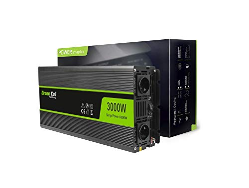 Green Cell® 3000W/6000W Modifizierte Sinus Spannungswandler Wechselrichter 12V auf 230V Modified Sine Wave Power Inverter Umwandler für Auto, Direktanschluss an Autobatterie inkl.