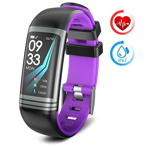 Fitness Tracker,Fitness Armband Herzfrequenz Monitor Fitness Tracker mit Schrittzähler Kalorie Schlafüberwachung IP67 Wasserdicht Smart Watch Kompatibel mit Android und IOS