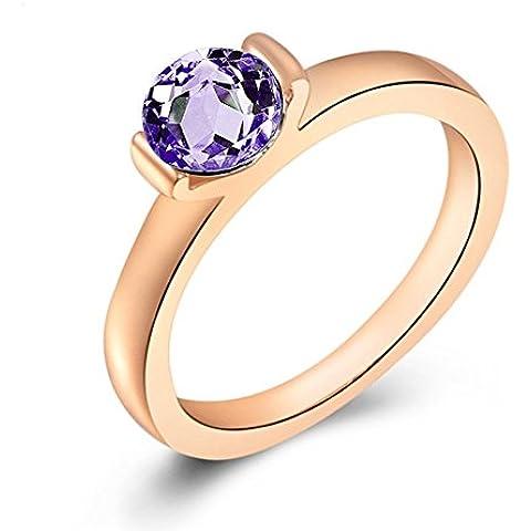 Encanto de la mujer 18ct chapado en oro rosa cristal brillantes incrustados compromiso boda anillo de moda