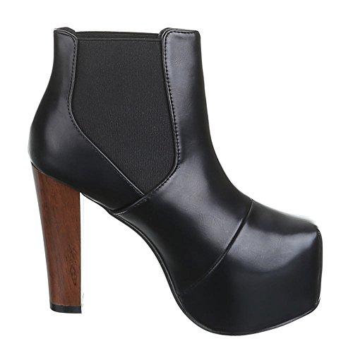 Damen Schuhe, B752H-KB, HIGH HEELS PLATEAU STIEFELETTEN Schwarz