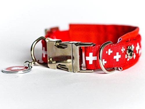 JööH for Dogs Hunde-Set Leine und Halsband, Schweizer Kreuz, Rot, 2 cm Breit, Halsumfang 30-35 cm