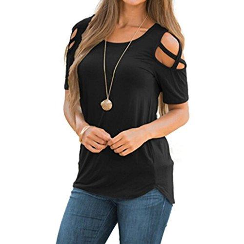 VEMOW Frauen-Dame-Sommer-beiläufige tägliche Kurze Hülsen-Riemchen-kalte Schulter-T-Shirt übersteigt Blusen-T-Stücke Pullover (40 DE/S CN, Schwarz) -