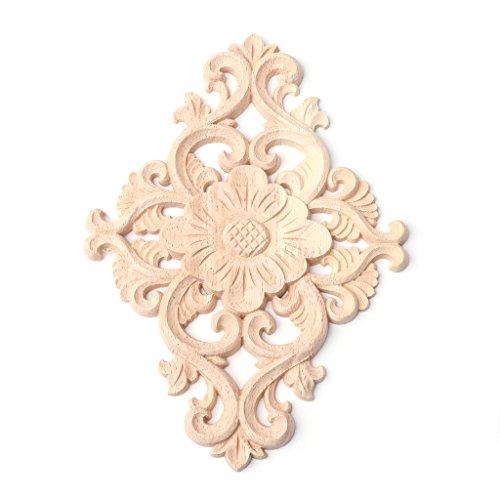 LLLucky Holz Geschnitzte Blume Ecke Onlay Applique Rahmen Möbel Handwerk Applique Möbel unlackiert Kabinett dekorativ - Handwerk Holz-applique