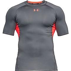 Idea Regalo - Under Armour, Ua Hg Armour Ss, Maglietta A Maniche Corte, Uomo, Grigio (Rhino Gray/Neon Coral 076), M