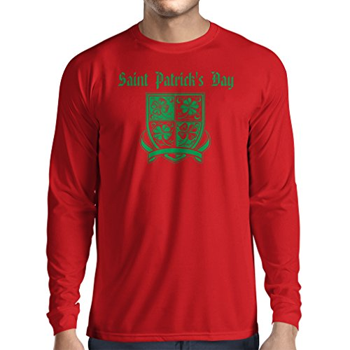 T-Shirt mit langen Ärmeln Saint Patrick's day Shamrock symbol - Irish party time (Medium Rot Mehrfarben)