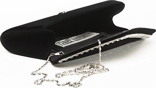 VINCENT PEREZ Borsetta, Borsa a tracolla, Pochette di raso con strass e tracolla rimovibile (120cm) nero