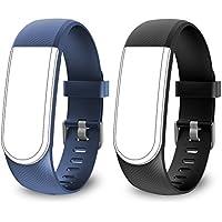 endubro Cinturino per Tutti Fitness Tracker ID101 HR / ID101 & Molti Altri Modelli Realizzato in TPU Skin-Friendly con Chiusura antiallergica (Nero + Blu)