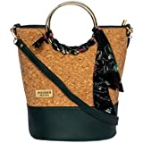 MODERN MYTH Tropical Bucket Bag PU Leather Solid Casual Sling Bag for Women with Floral Print