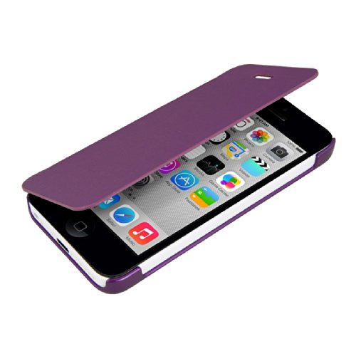 kwmobile Hülle für Apple iPhone 5C - Bookstyle Case Handy Schutzhülle Kunststoff - Flipcover Klapphülle Schwarz .Violett