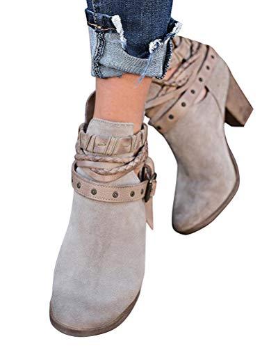Minetom Damen Stiefeletten Cowboy Western Stiefel Boots Schlupfstiefel Schuhe Grau EU 40