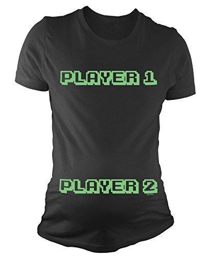 T-shirt de maternité pour dames Player 1 Player 2 Funny bébé cadeau de grossesse By BritTot Noir
