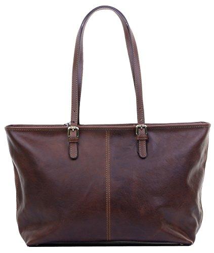 Luxus Damen italienischen Leder lange verstellbare behandelt dunkel braune große Tote Grab-Bag oder Umhängetasche Handtasche.Enthält Marken schützenden Aufbewahrungstasche (Lange Behandelt Handtaschen)